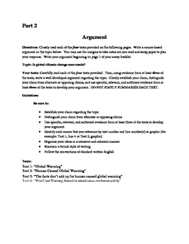 Climate Change Practice Argument Paper for the NYS Common Core Regents Exam