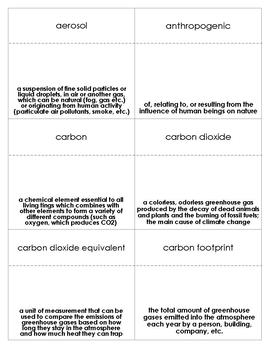 Climate Change Vocabulary Bingo