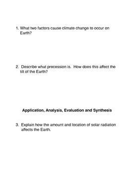 Climate Change and the Precession of the Earth Common Core Activity