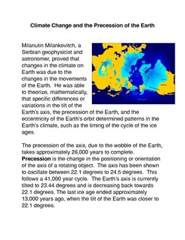 Climate Change and the Precession of the Earth Common Core