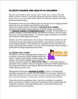 Climate Change- how it affects children's health