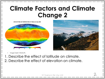 Climate Factors and Climate Change Exit Ticket or Bell Ringer Task Card Set