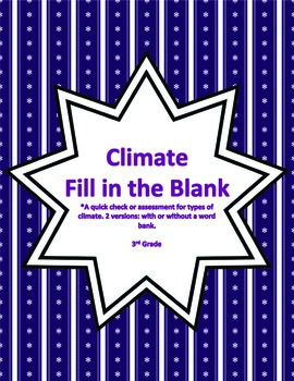 Climate: Fill in the Blank Activity