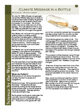 Climate Message in a Bottle:   Leveled Informational Text