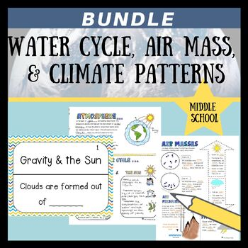 Water Cycle, Air Masses, & Climate Patterns Bundle {MS-ESS2-4, 2-5, & 2-6}