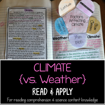 Climate Reading Comprehension Interactive Notebook