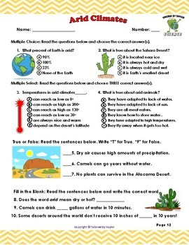 Climate Types Printable Booklet - Discover 6 Climates Around the World