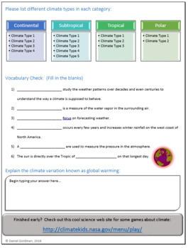 Climate Webquest Scavenger Hunt Science Common Core Activity