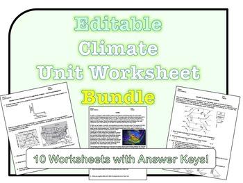 Climate Worksheets *EDITABLE BUNDLE*