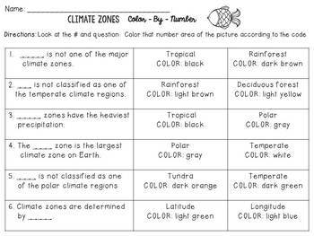 Climate Zones Color-By-Number