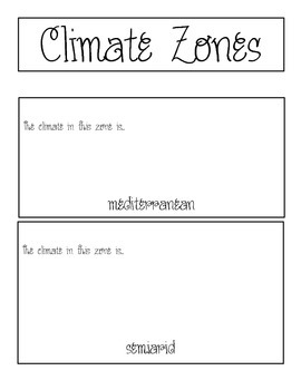 Activity Pack: Climate Zones Flip Book Activity