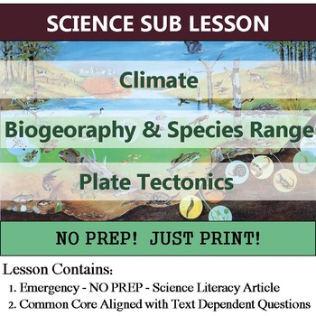 Climate and Biogeography Secondary Science Sub Lesson - Ecology Homework Option