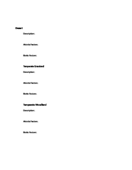 Climate and Biomes Worksheet Study Guide