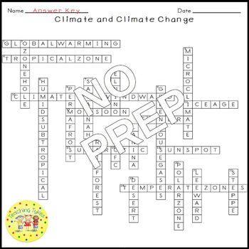 Climate and Climate Change Earth Science Crossword Puzzle Middle School