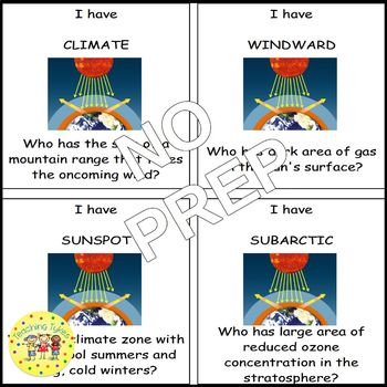 Climate and Climate Change I Have, Who Has Game