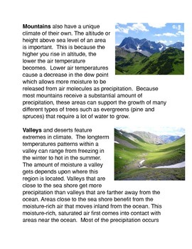 Climate and Different Geographical Regions