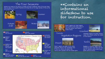 Climate and Vegetation in the US Interactive Notebook Printable or Google Drive