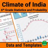 India Climate Data & Graph Templates 6th Grade Statistics & Probability Activity