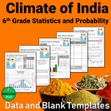 Climate of India Data and Graph Templates - 6th Grade Stat
