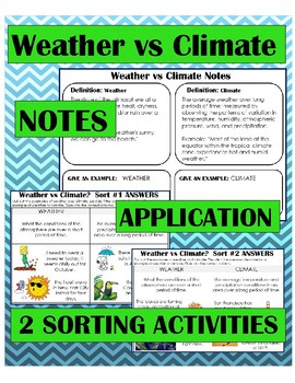 Climate vs Weather Notes, Application and Sorting Activity; Differentiated