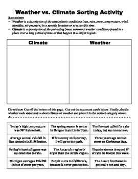 climate vs weather sorting activity by bigbrainofscience tpt. Black Bedroom Furniture Sets. Home Design Ideas