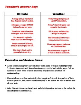 Climate Vs Weather Sorting Activity By Bigbrainofscience Tpt