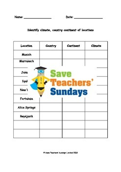 Climate zones and Using an atlas Lesson plan and Worksheet