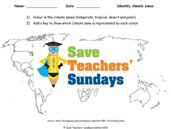 Climate zones world map and key Lesson plan and Worksheet TpT