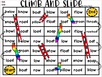Climb and Slide Vowel Digraphs -oa, -ow