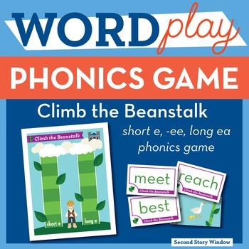 Climb the Beanstalk short e, ee, long ea Phonics Game - Words Their Way Game