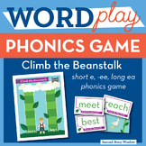 Climb the Beanstalk short e, ee, long ea Phonics Game - Wo