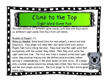Climb to the Top Sight Word Game Pack