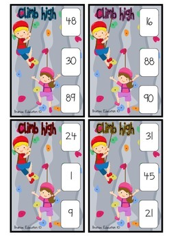 Climbing High Greatest Number Clip Cards