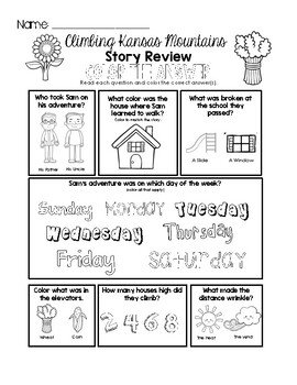 Climbing Kansas Mountains - Story Review Worksheet Set