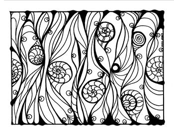 Climbing Snails Coloring Original Art Page summer