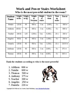 Climbing the Stairs - Work and Power Worksheet