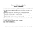 Clinical Trials & Ethics Memory Water Investigation Activity