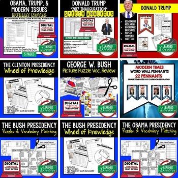 Clinton, Obama, and Trump Presidencies  BUNDLE, US History Bundle
