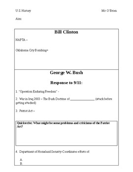 Clinton and W. Bush PowerPoint Worksheet