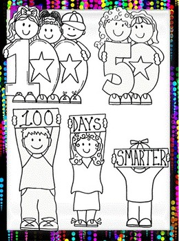 Clip Art~ 100's (One Hundreds) Day, 50's Day, 80's Day Kids