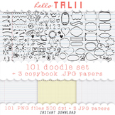 Clip Art: 101 Handdrawn Doodles + 3 Copybook Digital Papers