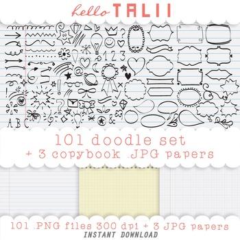 Clip Art: 101 Handdrawn Doodles + 3 Copybook Digital Papers