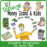 Clip Art 117 Teenagers & Money Icons: Coins, Dollars, Piggy Bank, Cash, ATM+More