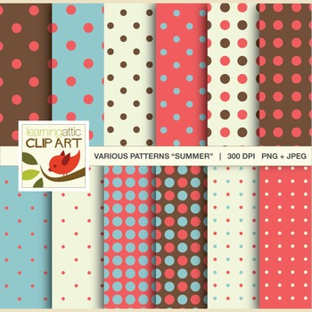 """Clip Art: 12 Polka Dot Patterns in """"Summer Colors"""" - 24 Digital Papers"""