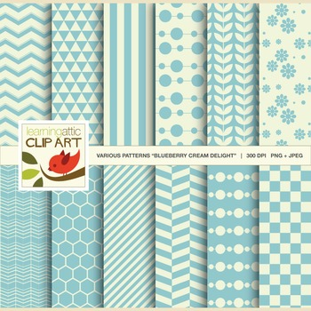 Clip Art: 12 Various Digital Patterns Blueberry Cream Deli
