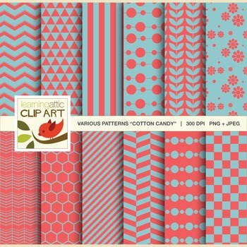 "Clip Art: 12 Various Digital Patterns in ""Cotton Candy"" - 24 Digital Papers"