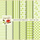 """Clip Art: 12 Various Digital Patterns in """"Green Apple"""" - 2"""