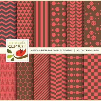 Clip Art: 12 Various Digital Patterns in Shirley Temple - 24 Digital Papers