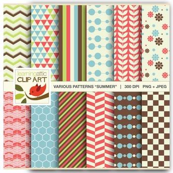 Clip Art: 12 Various Digital Patterns in Summer Colors - 24 Digital Papers