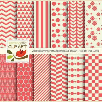 "Clip Art: 12 Various Patterns in ""Strawberries & Cream"" - 24 Digital Papers"